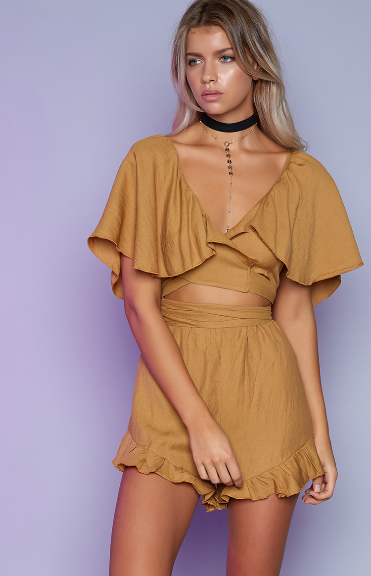 Fashion Shop - For The Frill Of It Playsuit Mustard