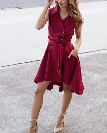Fashion Shop - In The Trenches Dress Wine