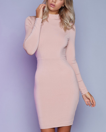 Fashion Shop - Knockout Long Sleeve Dress Blush