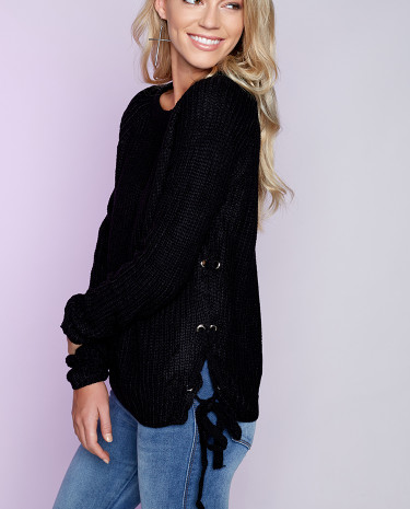 Fashion Shop - Lace Me Up Jumper Black