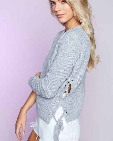 Fashion Shop - Lace Me Up Jumper Grey