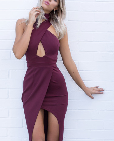 Fashion Shop - PRE ORDER Out Of Sight Midi Dress Merlot