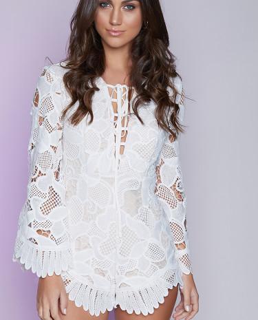 Fashion Shop - Vivienne Playsuit White