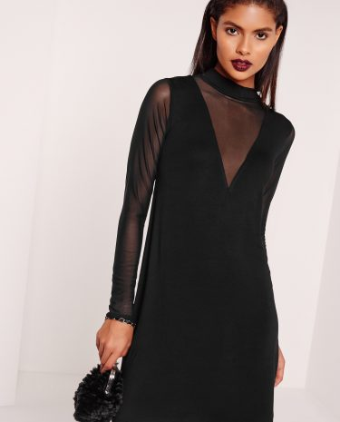 Fashion Shop - Insert Sleeve Swing Dress Black