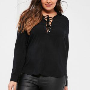 Fashion Shop - Size Black Lace Up Blouse