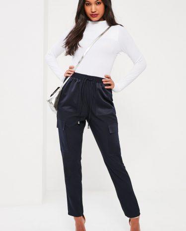 Fashion Shop - Crepe Satin Pocket Tie Waist Cigarette Trousers