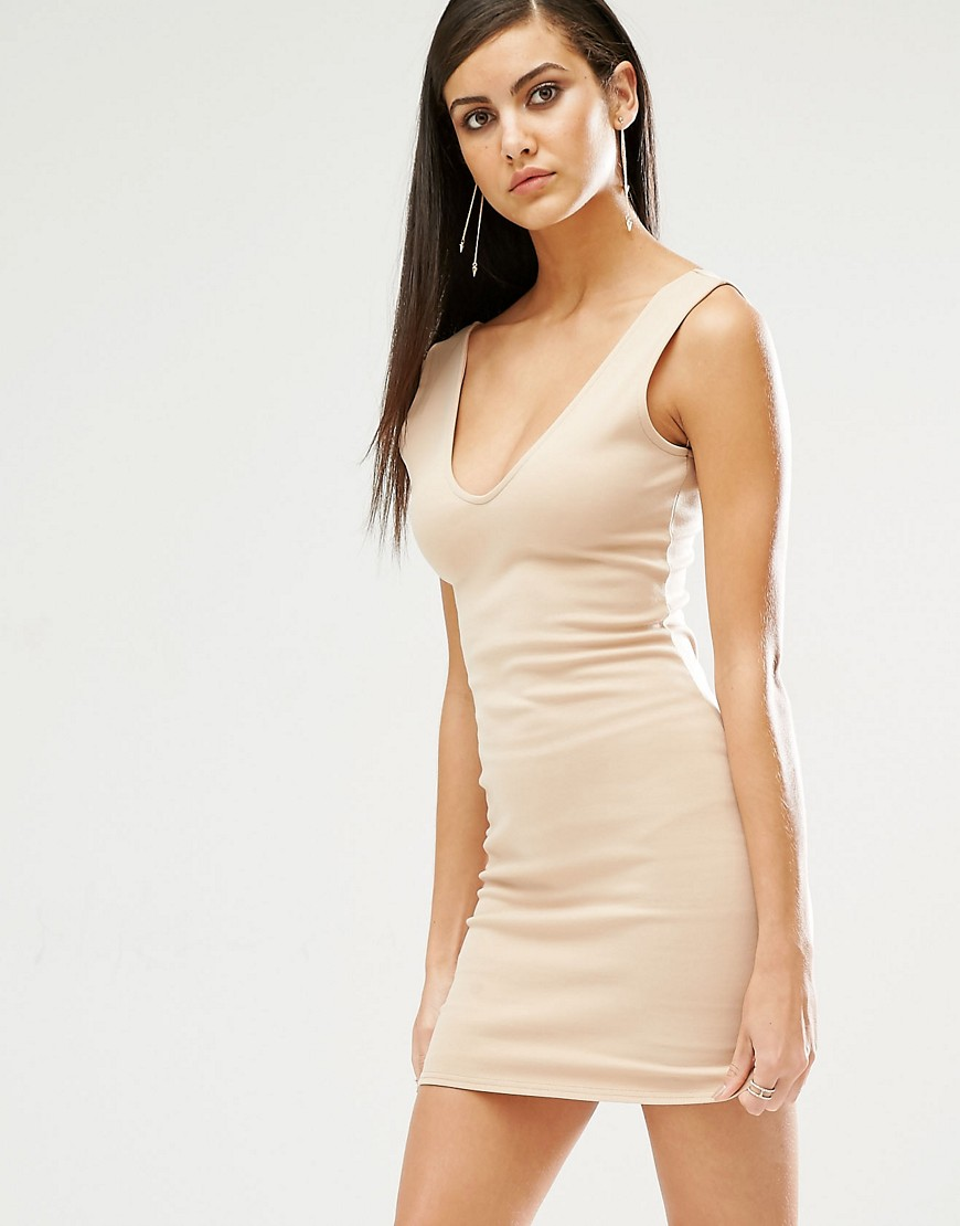 Fashion Shop - Missguided Plunge Neck Bodycon Mini Dress - Beige
