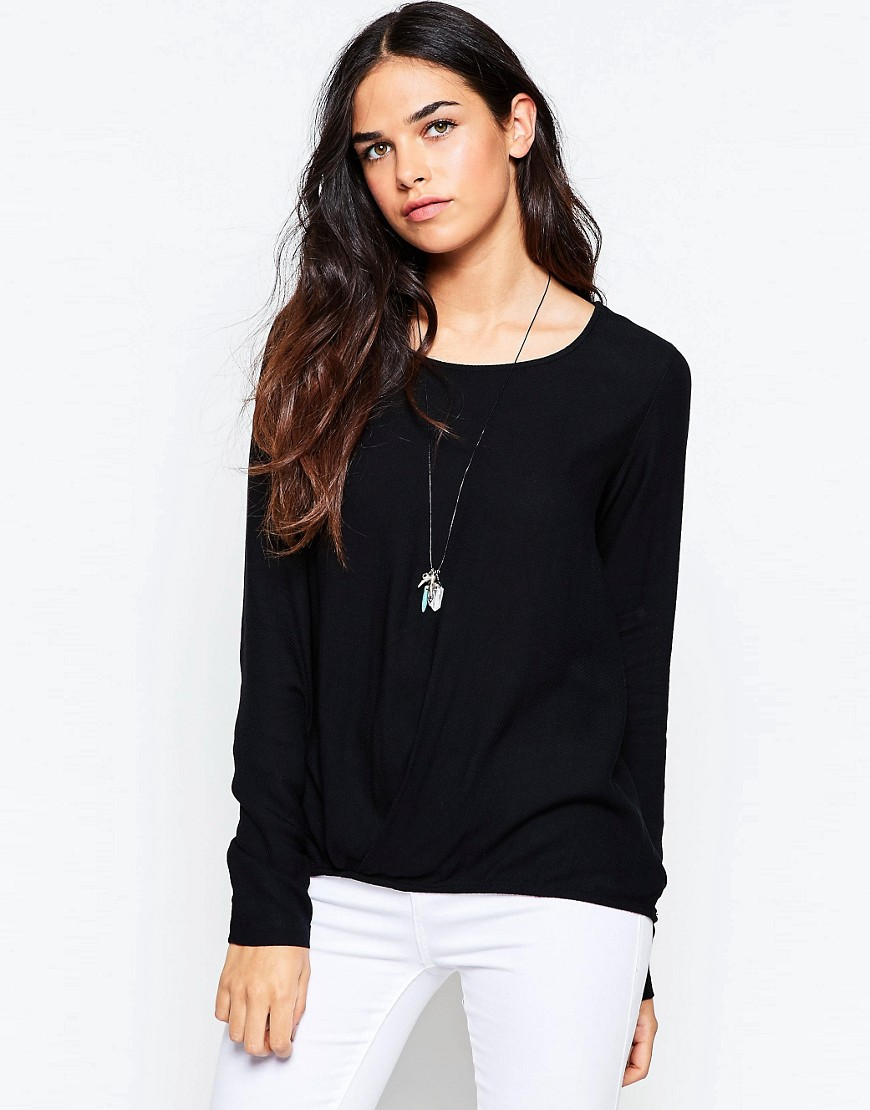 Fashion Shop - Vila Twist Detail Round Neck Top - Black