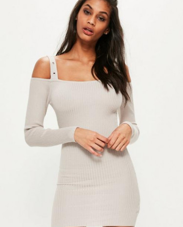 Fashion Shop - Knitted Supported Bardot Ribbed Jumper Dress