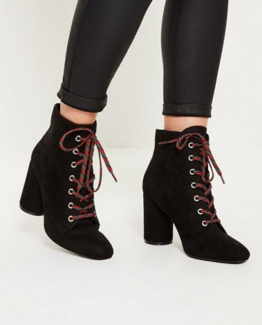 Fashion Shop - Lace Detail Block Heeled Ankle Boots