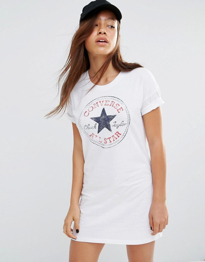 Converse white classic logo t shirt dress white for Logo t shirt dress