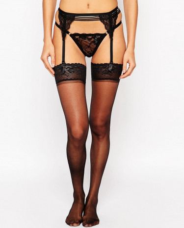 Fashion Shop - ASOS 15 Denier Lace Top Hold Ups - Black