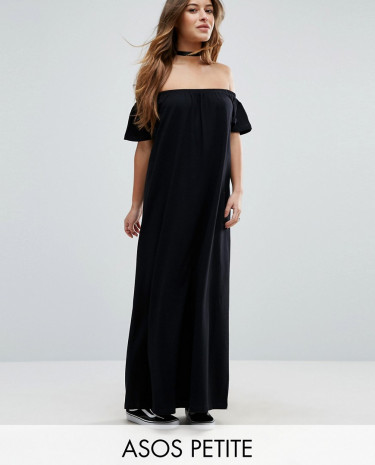 Fashion Shop - ASOS PETITE Off Shoulder Maxi Dress - Black