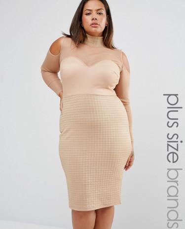 Fashion Shop - Club L Plus High Neck Bandage Mesh Dress With Cold Shoulder Detail - Beige