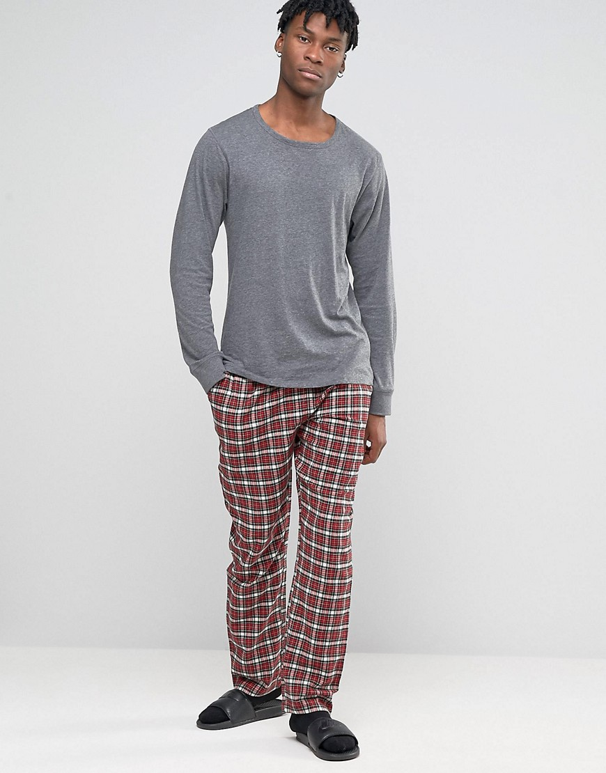 Fashion Shop - Esprit Lounge Pants in Flannel Check in Regular Fit - Red