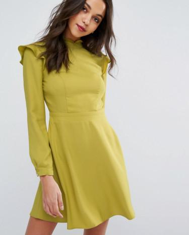 Fashion Shop - Miss Selfridge High Neck Ruffle Dress - Green