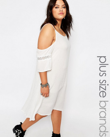 Fashion Shop - Missguided Plus Cold Shoulder Cheese Cloth Dress - White