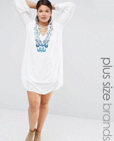 Fashion Shop - Missguided Plus Embroidered Tie Up Dress - White