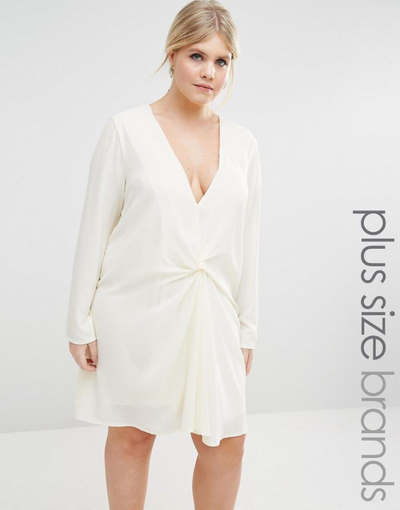 Fashion Shop - Missguided Plus Knot Oversized Dress - Cream