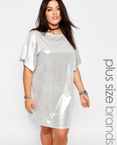 Fashion Shop - Missguided Plus Shiny T-Shirt Dress - Silver