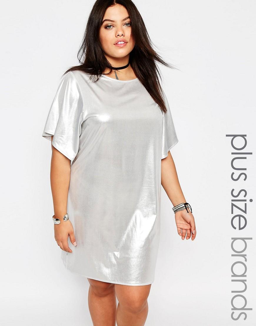 Fashion Shop - Missguided Plus Shiny T-Shirt Dress - Silver