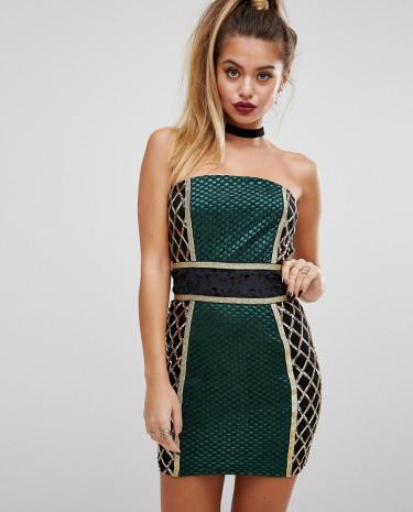 Fashion Shop - PrettyLittleThing Premium Strapless Blocked Embellished Mini Dress - Green