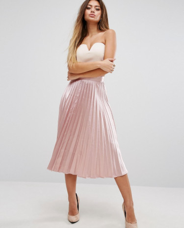 Fashion Shop - PrettyLittleThing Satin Pleated Skirt - Pink