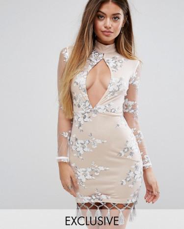 Fashion Shop - Prettylittlething Embellished Dress With Tassel Hem - Beige