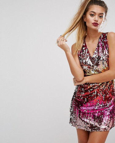 Fashion Shop - Prettylittlething Mixed Sequin V Neck Dress - Multi