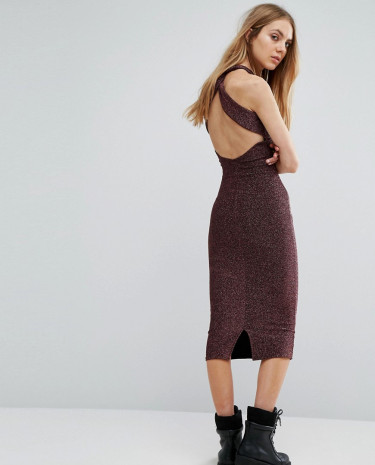 Fashion Shop - Pull & Bear Metallic Knitted Cross Back Detail Mid Dress - Purple