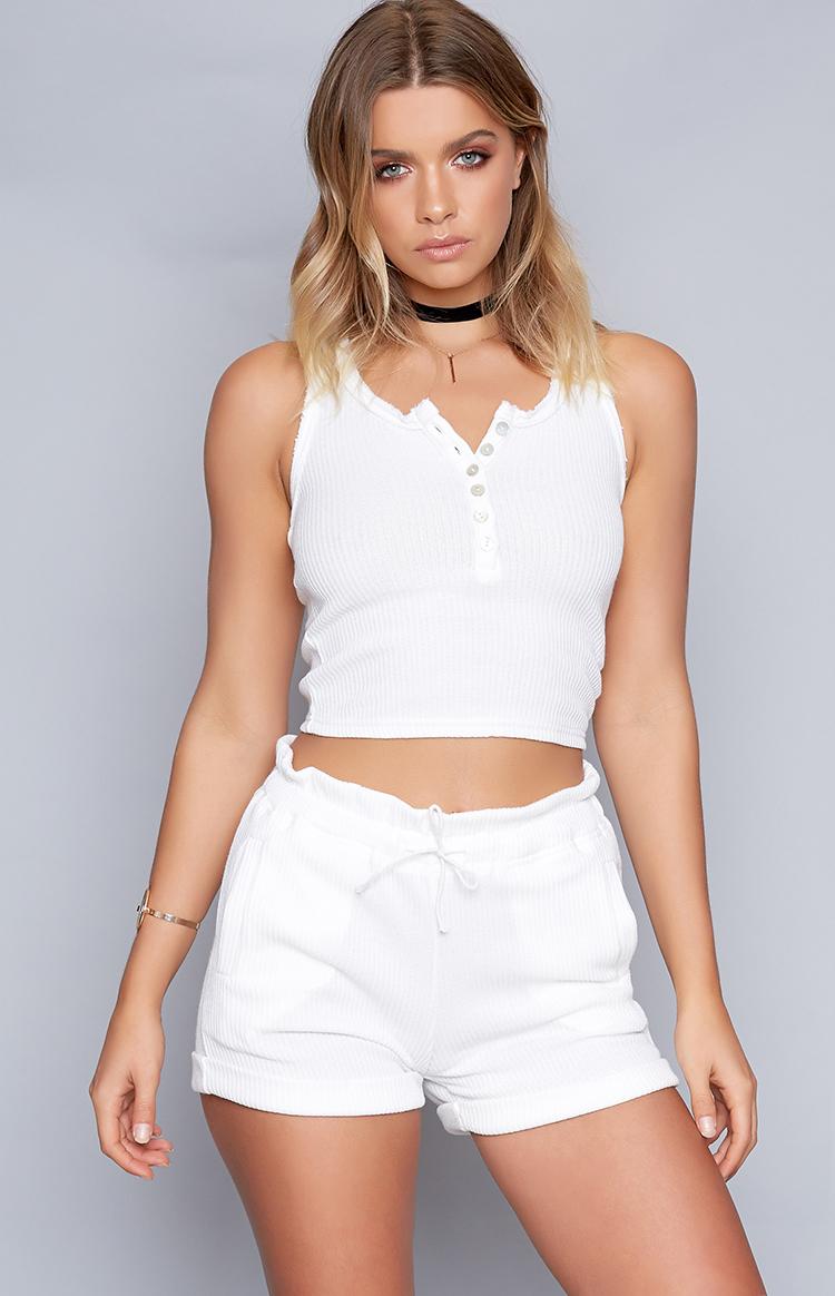 Fashion Shop - Bailey Ribbed Shorts White