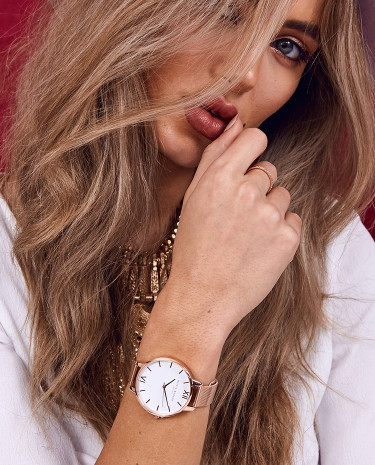 Fashion Shop - Olivia Burton White Dial Rose Gold Mesh Watch