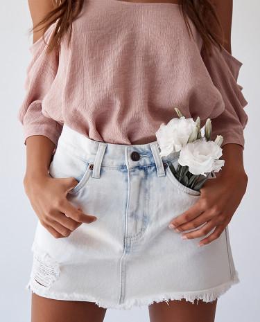 Fashion Shop - Rusty Derby Denim Skirt White Wash