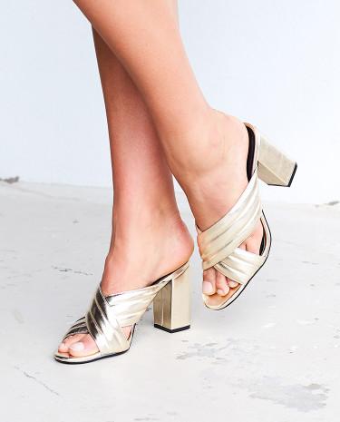 Fashion Shop - Therapy Triola Mules Metallic Gold