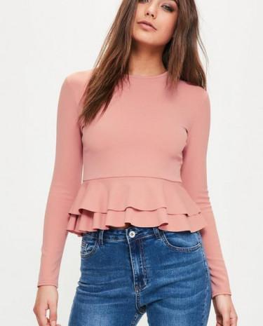 Fashion Shop - Peplum Frill Hem Top