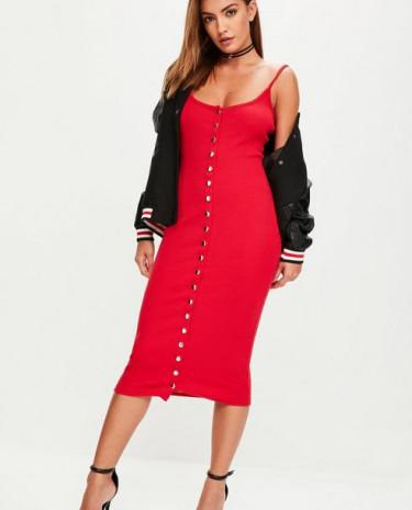 Fashion Shop - Strappy Ribbed Popper Midi Dress