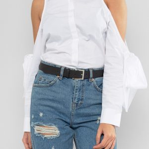 Fashion Shop - ASOS Leather Silver Buckle Waist And Hip Belt - Black