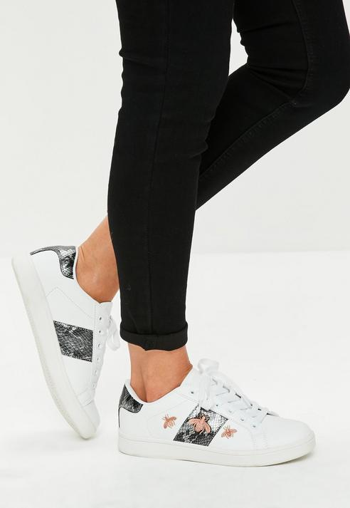 Fashion Shop - Bee Embroidered Lace Up Trainers