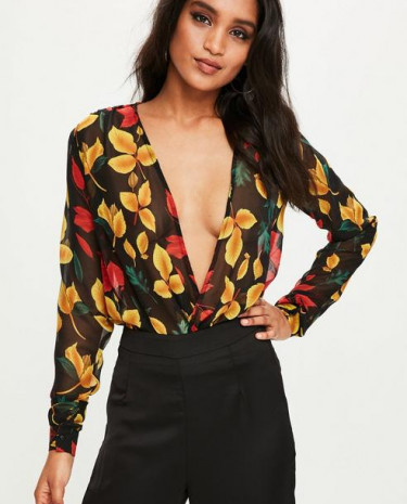 Fashion Shop - Black Floral Bodysuit