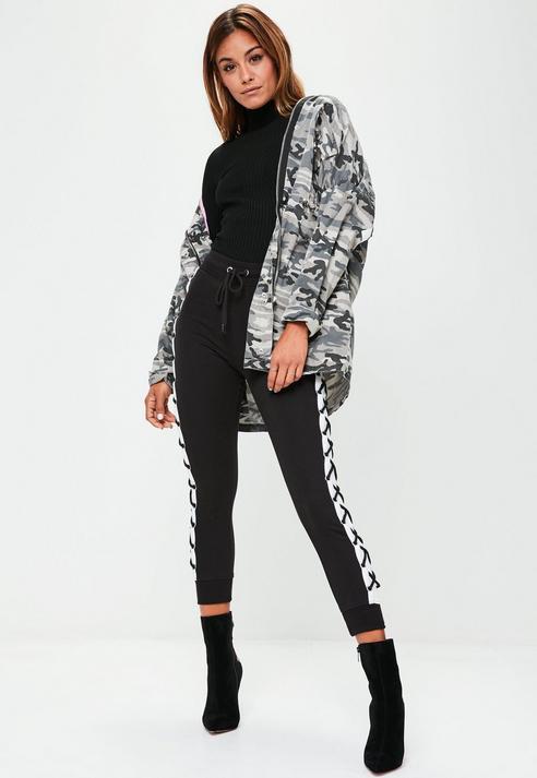 Fashion Shop - Black Lace Up Joggers
