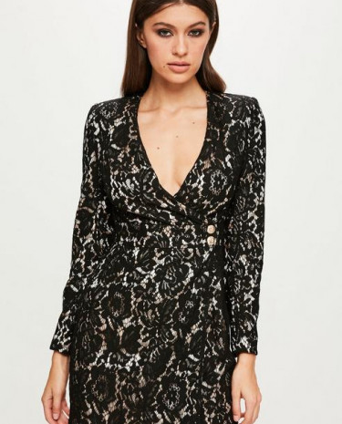 Fashion Shop - Black Long Sleeve Wrap Dress
