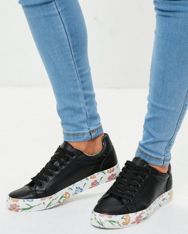 Fashion Shop - Contrasting Floral Sole Trainers