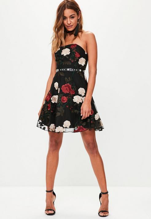 Fashion Shop - Embroidered Mesh Bandeau Skater Dress