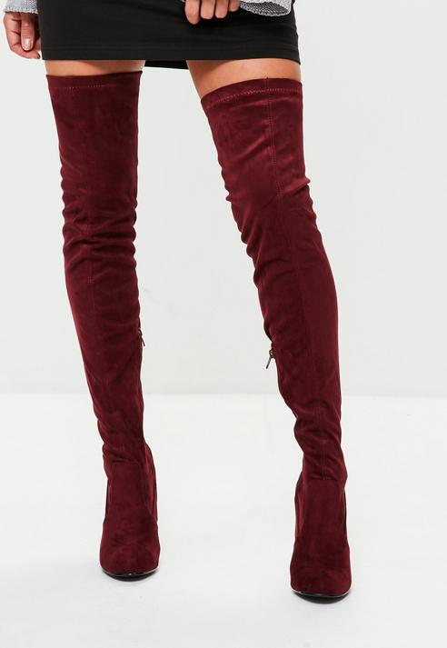 Fashion Shop - Feature Heel Thigh High Boots