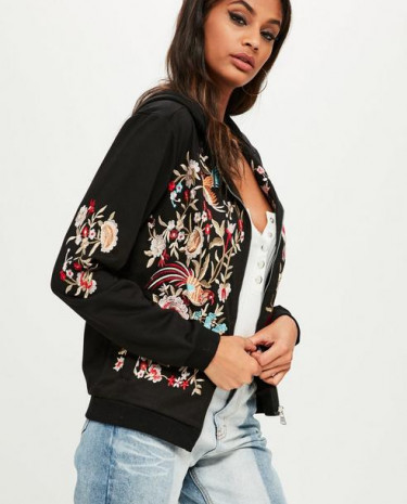 Fashion Shop - Floral Embroidered Zip Front Hoodie