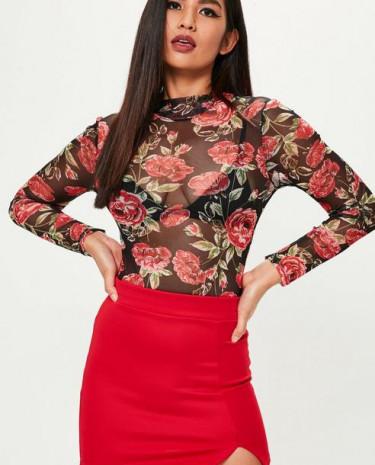 Fashion Shop - Floral Mesh Bodysuit