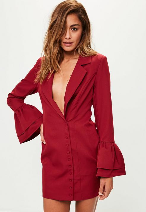 Fashion Shop - Frill Sleeve Blazer Dress