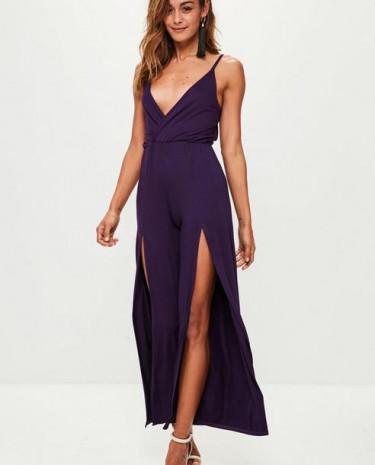Fashion Shop - Jersey Wrap Wide Leg Playsuit