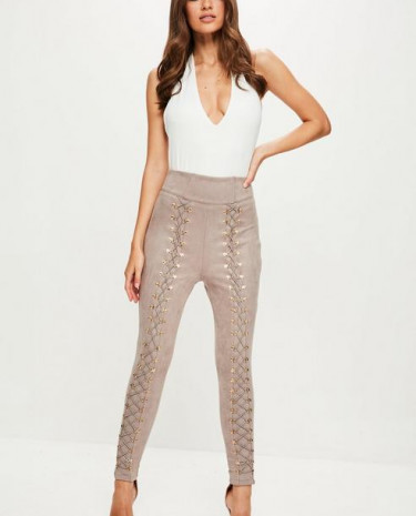 Fashion Shop - Nude High Waisted Faux Suede Trousers