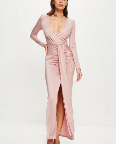 Fashion Shop - Pink Long Sleeve Wrap Maxi Dress